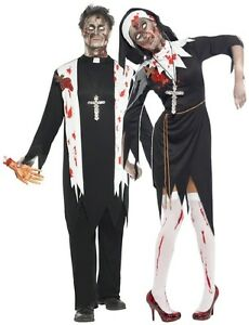 Couples Mens & Ladies Fancy Dress Zombie Nun & Priest Halloween ...