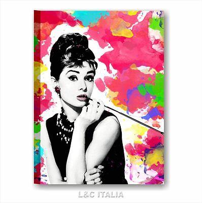 Audrey Hepburn 8 QUADRI MODERNI 50x70 QUADRO INTELAIATO STAMPA POP ART COLORATO