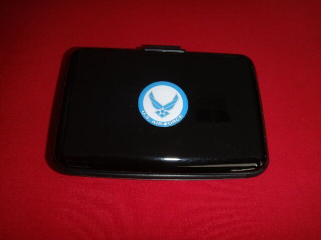 Black Hardcover Pocket Wallet With US AIR FORCE Raised Emblem *New*