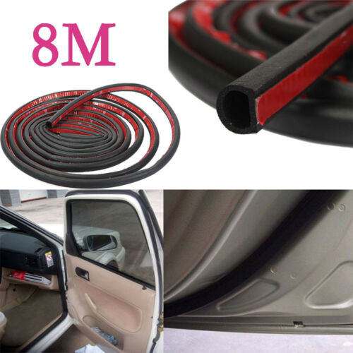 8M New Car Motor Door D-shape Rubber Seal Weather Strip Sound proof seal strip