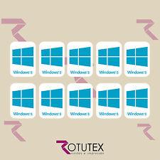 10 x WINDOWS 8 FOR PC LAPTOP HD BLU CIANO STICKER LOGO DECAL BADGE ADESIVO