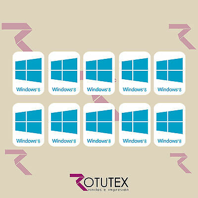 10 x WINDOWS 8 FOR PC LAPTOP HD AZUL CYAN STICKER LOGO DECAL BADGE ADHESIVO