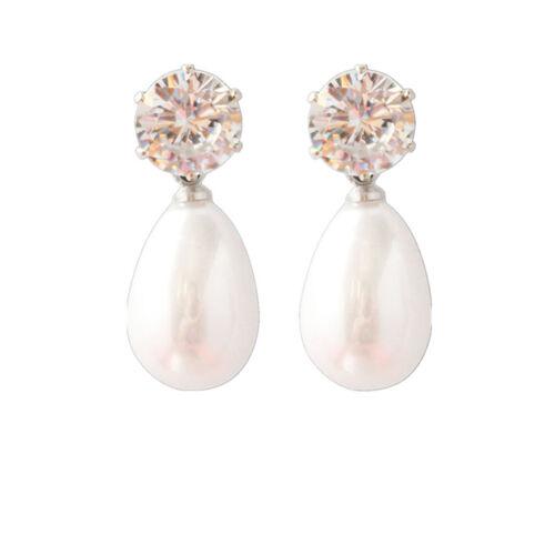 Women Simple OL Style Transparent Crystal White Pearl Pendant Stud Earrings RE
