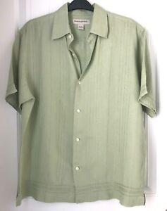 Banana-Republic-Mens-Size-Large-Green-Linen-Button-Front-Short-Sleeve-Shirt