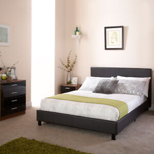 Image Is Loading Bed In A Box Black Faux Leather Queensize