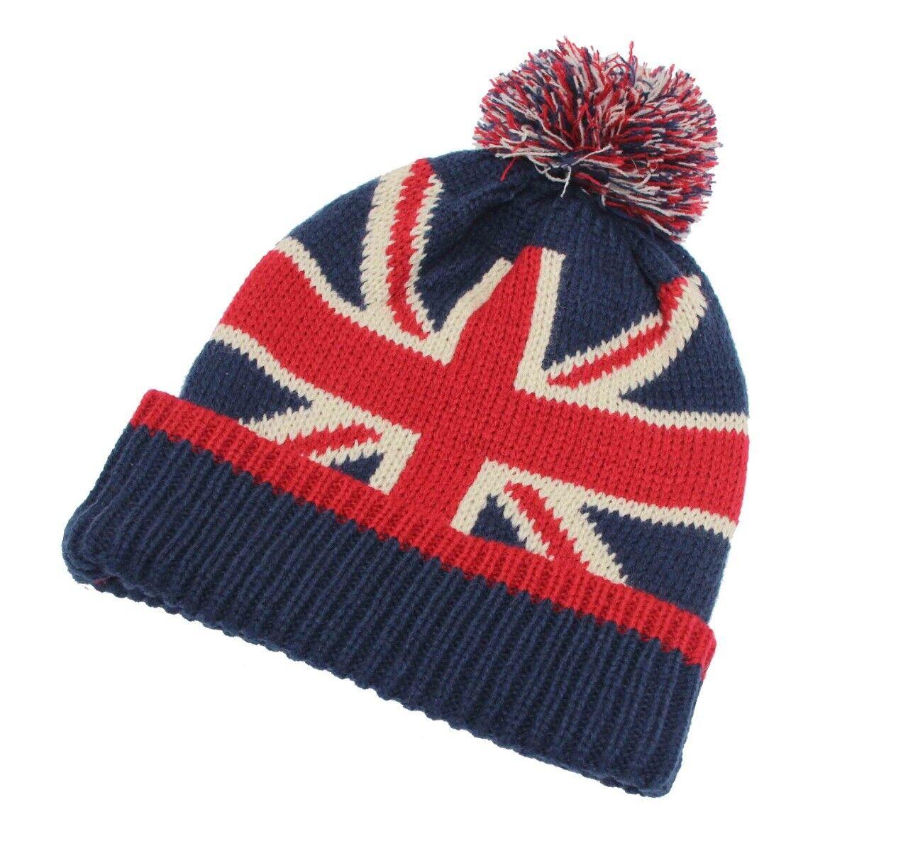 Women/'s Men/'s Beanie Hats British Flag Union Jack Pom Pom Knitted Hats