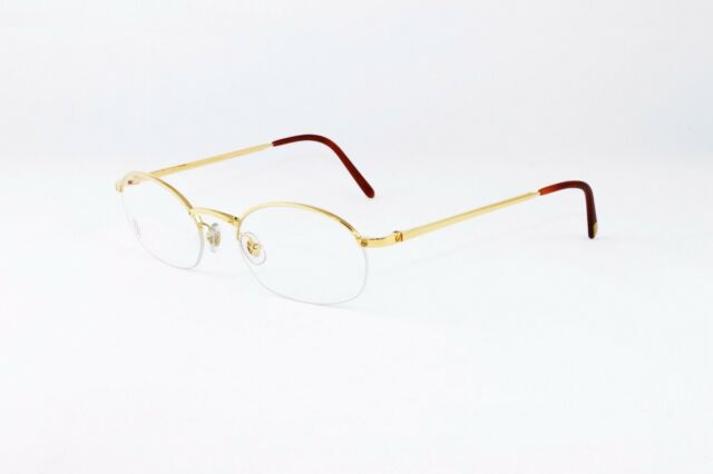 85181311ee6c Cartier Oval Half Rim Pale Gold Eyeglasses T8100608 Frames Authentic France  New