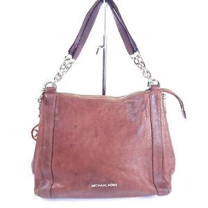 MICHAEL-KORS-Vintage-Brown-Tote-Leather-HandBag-Shoulder-Satchel-Purse-Shopper
