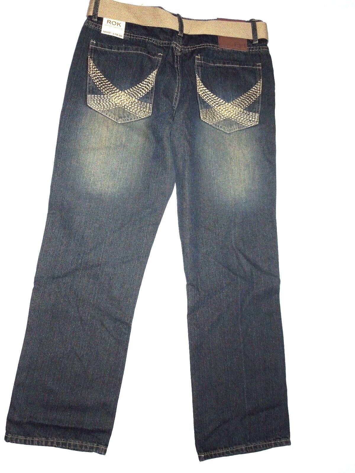 ROK mens relaxed fit bluee denim JEANS  size 34  X 32  retail
