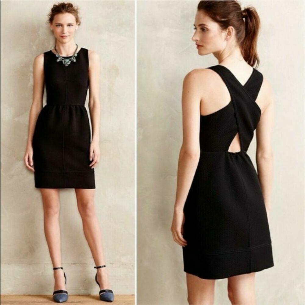 ANTHROPOLOGIE Maeve NWT  schwarz Texturot Cross Back A Line Dress Sz 0