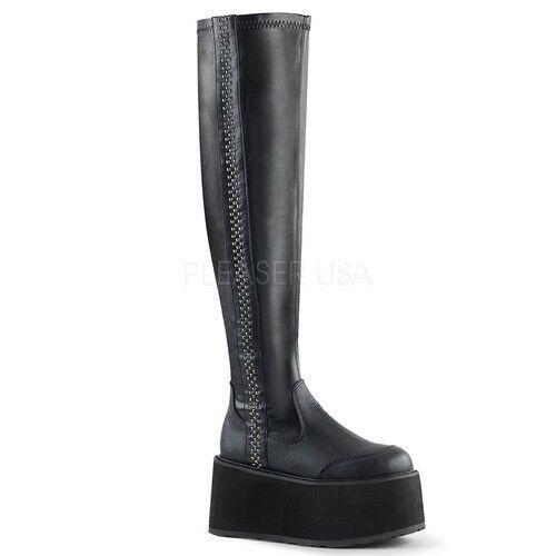 Demonia Maldita - 302 Para Mujer De Plataforma De Cuero Negro Vegano Cremallera lateral Bota de alto del muslo