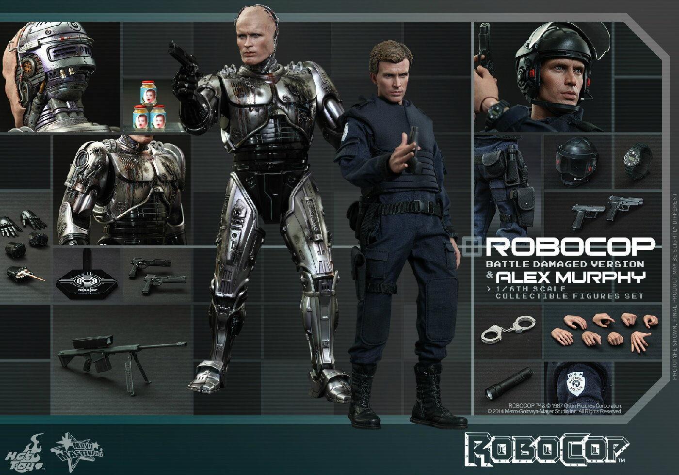 Hot Toys 1 6 Robocop Robocop Robocop MMS266 Battle Damaged & Alex Murphy figura 2-Pack Set  punto de venta barato
