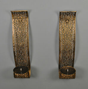 Arabian Metal Tealight Candle Holder Wall Sconce (Twin Pack) by Gardman