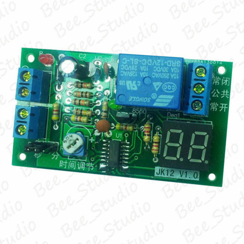 DC 12V LED Display Trigger Timer Delay Turn OFF Board Time Relay Switch 1s~99min
