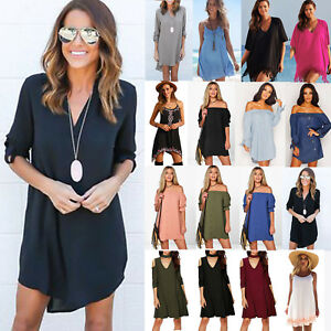 Plus-Size-Women-Summer-Mini-Dress-Beach-Loose-Tunic-Long-Tops-Blouse-Short-Dress