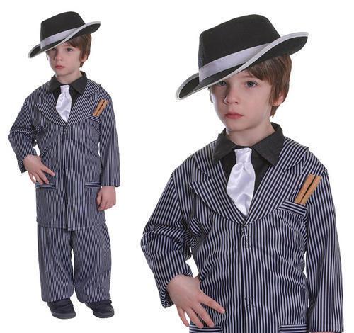 Childrens Gangster Pinstripe Fancy Dress Costume Suit Book Week Kids 3-10 Yrs
