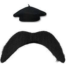 BLACK BERET FRENCH MENS FLAT  HAT WITH TASH FANCY DRESS PARTY COSTUME ONE SIZE