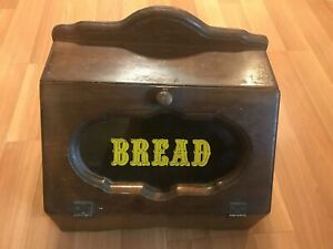 Nice-Vintage-Old-Wood-Bread-Box-With-Window