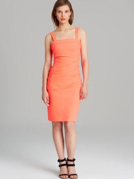 Shoshanna Neon Grapefruit Stretch Crepe  Tribly  Dress Sexy Size 6 New