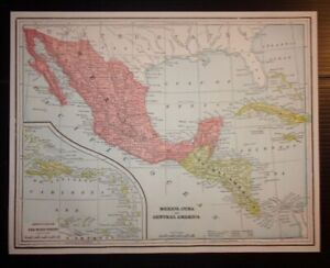 Map Of America Ebay.Details About Antique 1893 Map Of Mexico Cuba And Central America