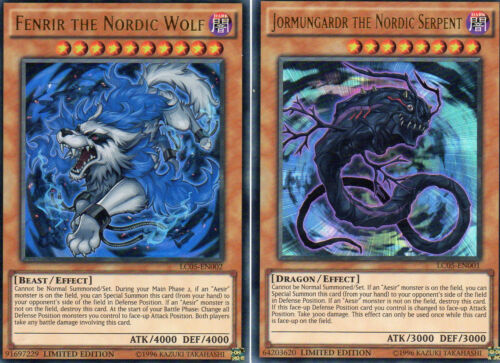 YuGiOh /> Nordic Fenrir /& Jormungardr  /< LC05-EN001 /& EN002 Ultra Rare Englisch