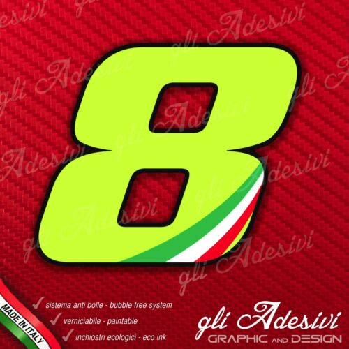 Adesivo Stickers NUMERO 8 moto auto cross gara Verde Acido Kawa /& Tricolore