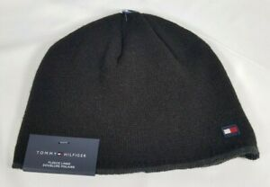 Tommy Hilfiger Fleece Lined Beanie Hat Black One Size,  FREE SHIPPING
