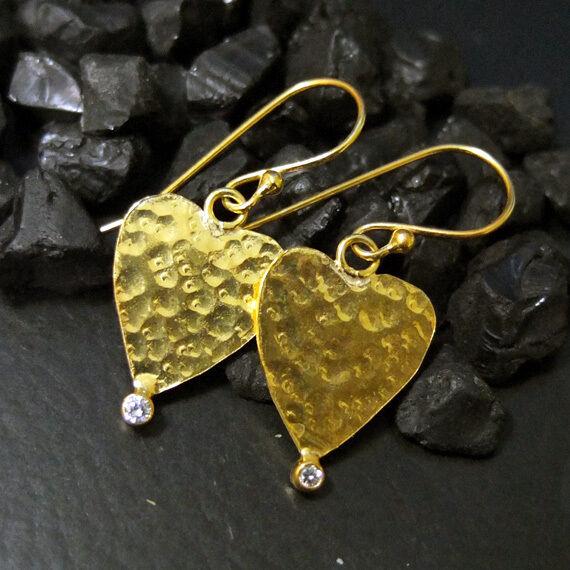 Handmade Hammered Designer Heart Earring  22K Gold Over 925K Sterling Silver
