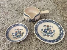 Lot Of Staffordshire Old Granite Hearts & Flowers Plate, Bowl, Gravy Boat
