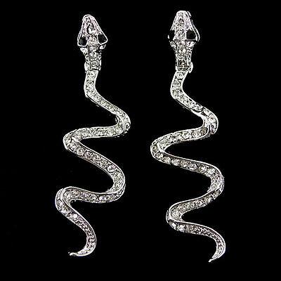 6cm Long Dangle Snake Animal USE SWAROVSKI Crystal Earrings