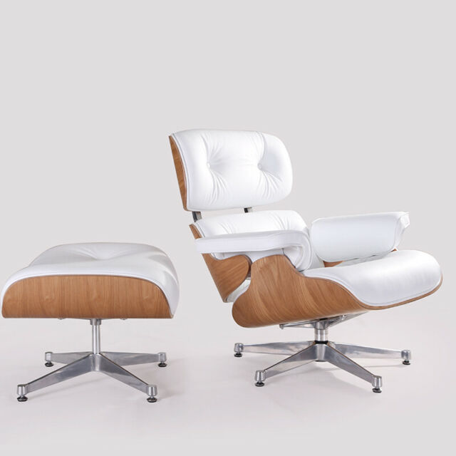 Marvelous White Leather Lounge Chair And Ottoman Eams Style Armchair Genuine Ashwood Forskolin Free Trial Chair Design Images Forskolin Free Trialorg