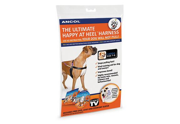 Ancol Dog Puppy Happy At Heel Pulling Walking Control Harness Lead DVD Set Black