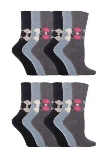 see variations 12 pairs Ladies SockShop Cotton Gentle Grip 4-8 uk Socks