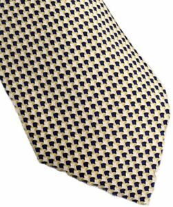 Men-039-s-Hermes-Paris-Blue-And-Yellow-100-Silk-Neck-Tie-made-in-France