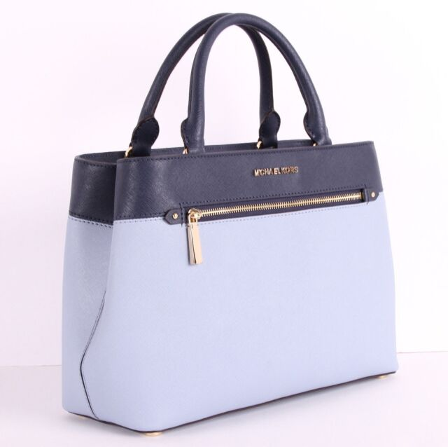 Michael Kors Handbags Hailee Medium Satchel Purse In Pale Blue Navy