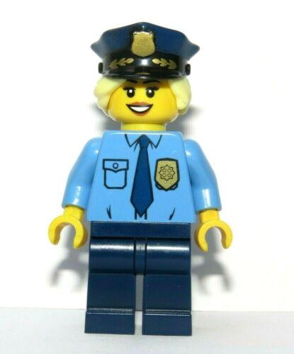 LEGO Girl Minifigure Police Policewoman Officer Blonde Hair Hat Reversible Head