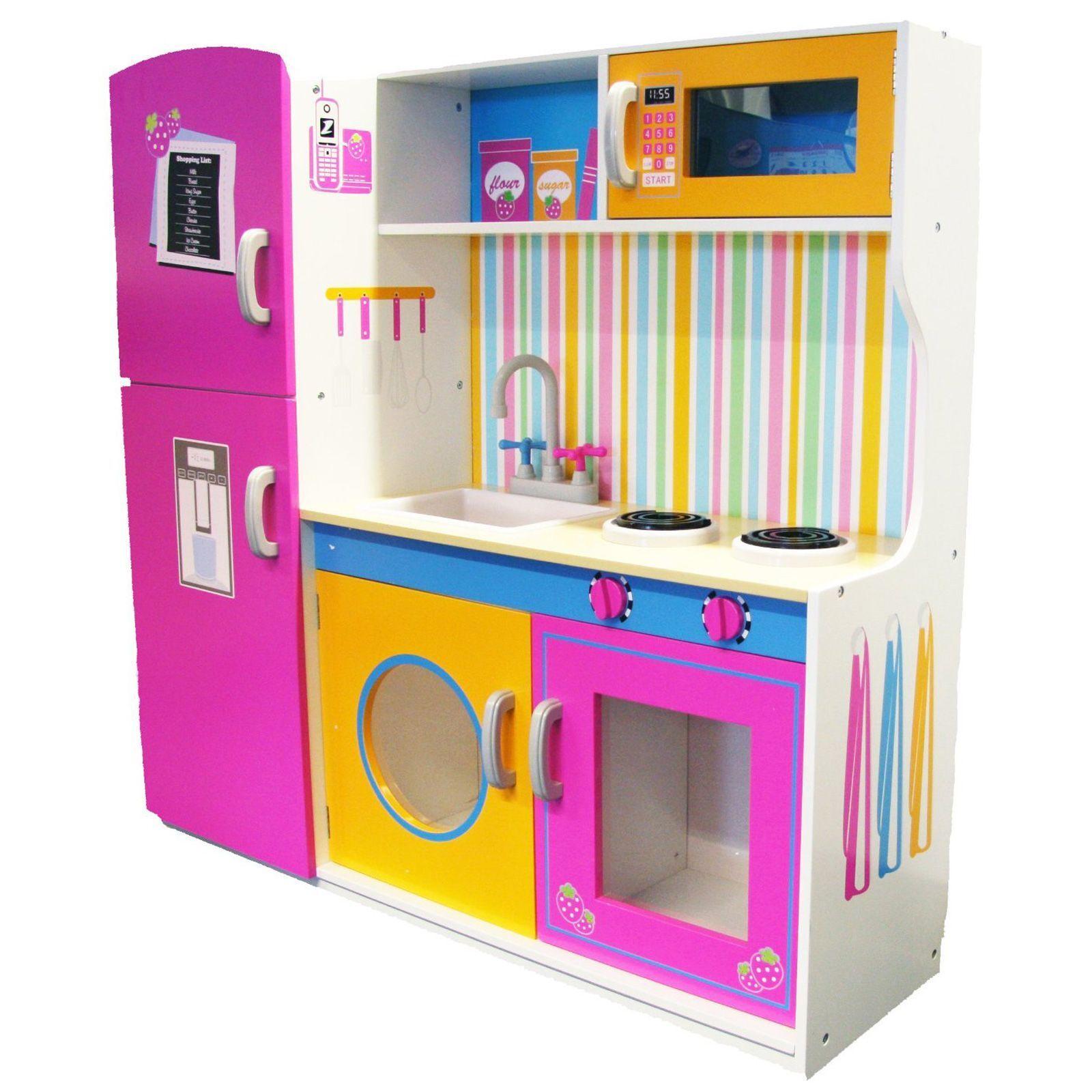 Groß Hölzern Küche mit Kühlschrank Neu Mädchen Rollenspiel