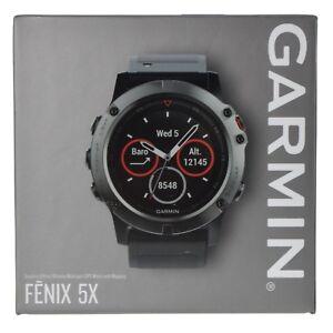Details About Garmin Fenix 5x Sapphire Gps Watch Mapping Wrist Hr Slate Gray With Black Band