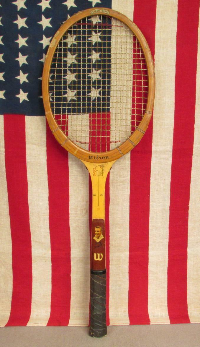 Vintage 1950s Wilson Wood Tennis Racquet Tony Trabert Picture Model Stylist Nice