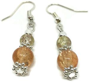 Pretty Arancione Crackle Glass Beads Brevi Goccia Piercing Orecchini Gancio Orecchio fili
