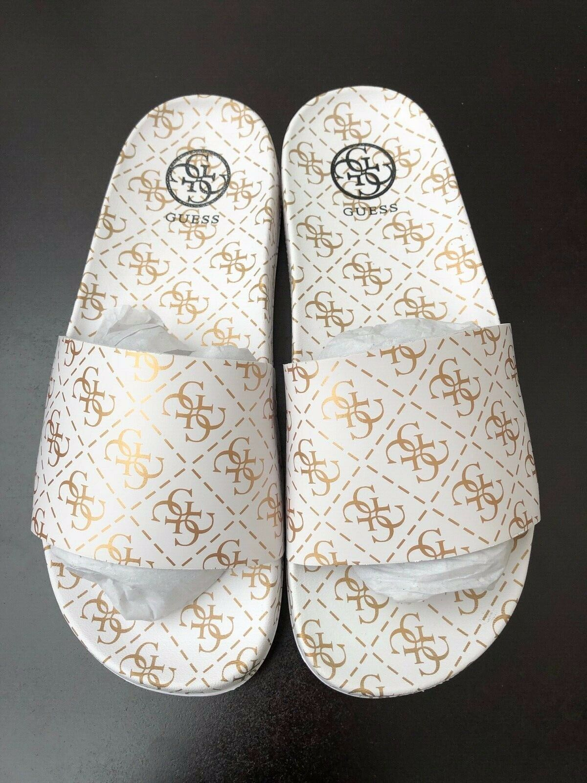 GUESS White/Gold Sliders Sandals
