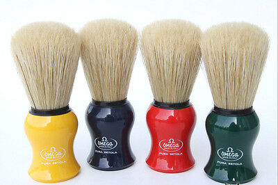 OMEGA SHAVE Co. Boar Bristle Brush #10065 - Your Choice of 4 Colors, New & Boxed