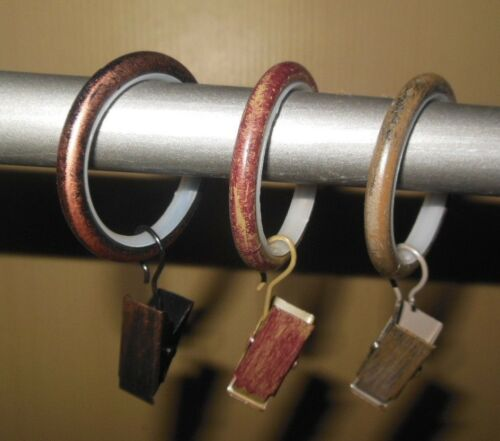 set of 8 New Metal Curtain Easy Glide Rings with Clips /& Inserts Select Color