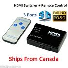 3 Ports Remote 1080P HDMI Switch Switcher Selector 3 in 1 out Splitter HS31