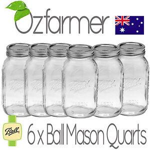 6-x-1-Litre-Quart-Ball-Mason-Australia-Preserving-Jars-Regular-BPA-Free