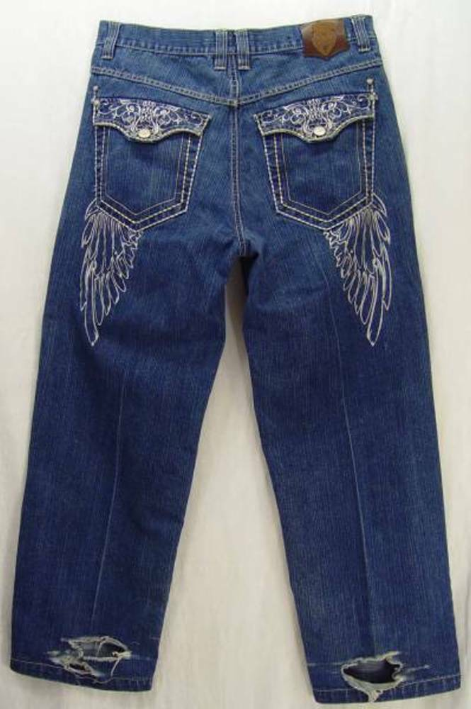 ANGEL WINGS Embroidered ETERNAL Classic Loose THE NEXT MOVEMENT TNM Jeans  36