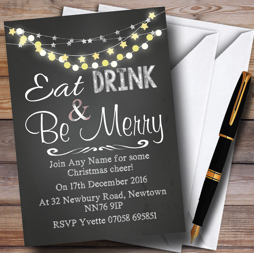 Chalk Style Lights Bunting Personalised Christmas Party Invitations