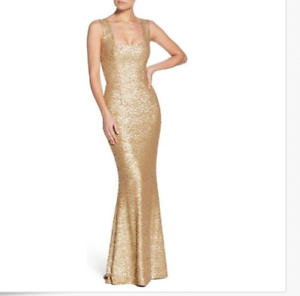 DRESS-THE-POPULATION-RAVEN-GOLD-SEQUIN-MERMAID-GOWN-DRESS-sz-M