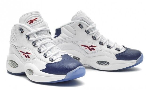 New 2012 REEBOK QUESTION Mid Pearlized Blue Leather ALLEN IVERSON Retro Men Sz 9