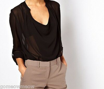 Womens Ladies V Scoop Drapped Sheer Chiffon Blouse Tops,See Through Long Sleeve